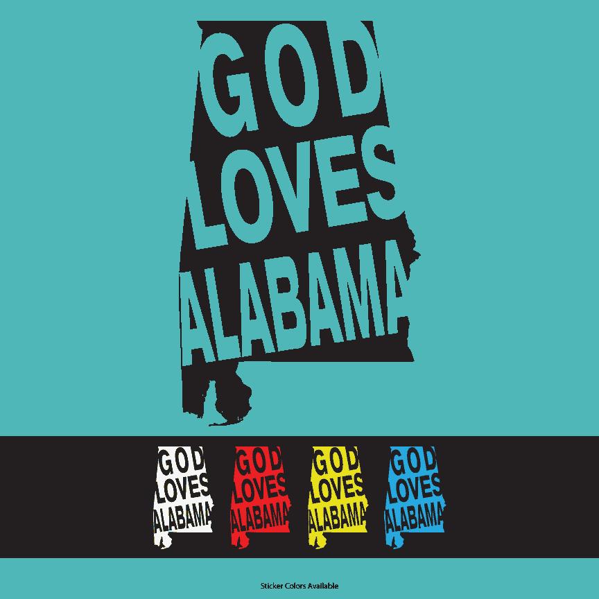 God loves alabama vinyl window decal